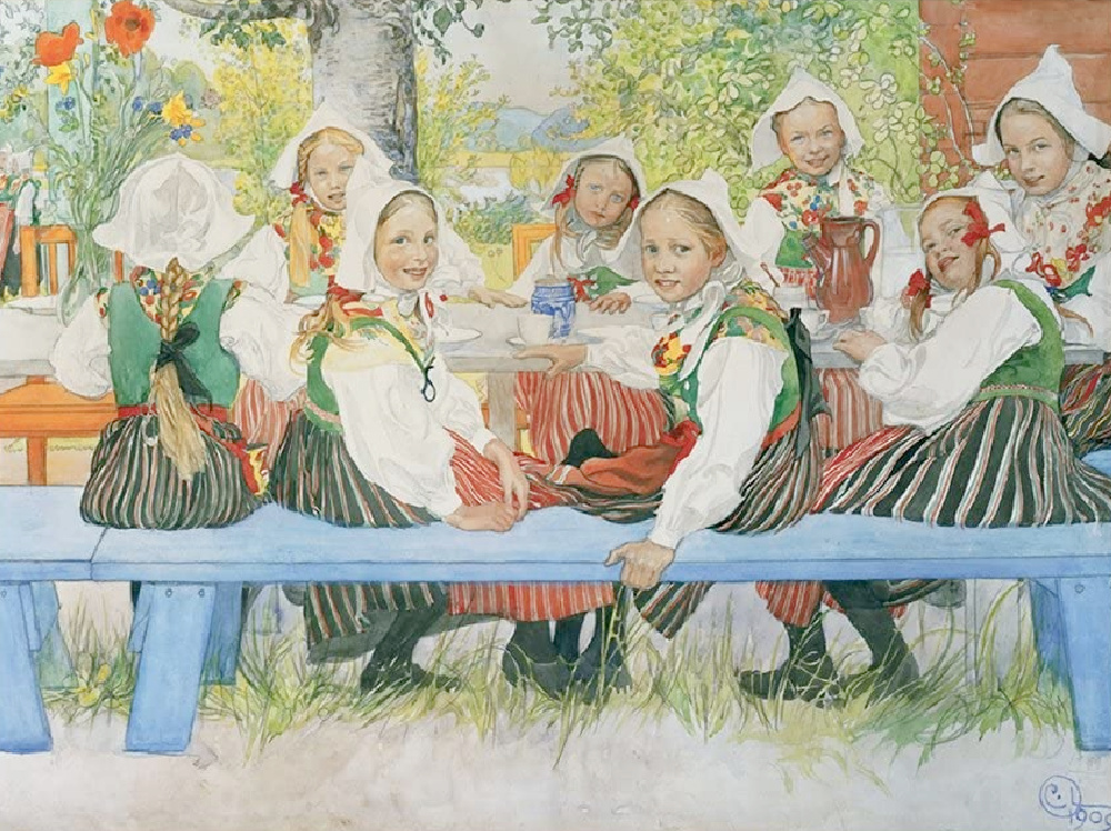 """Carl Larsson's 19th century watercolor painting """"Kersti's Birthday"""" is a gorgeous scene of young girls gathered at a picnic table for the celebration."""