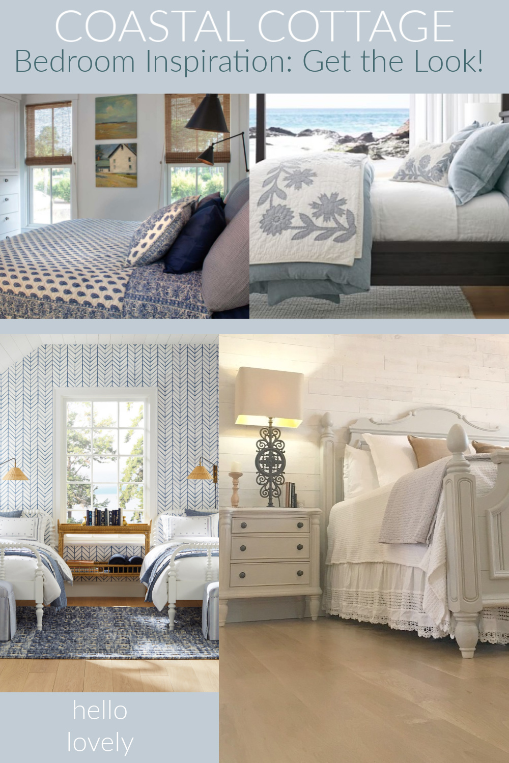 Coastal Cottage Bedroom Inspiration Get the Look on Hello Lovely Studio. #coastalcottage #getthelook #shopthelook #bedroomdecor