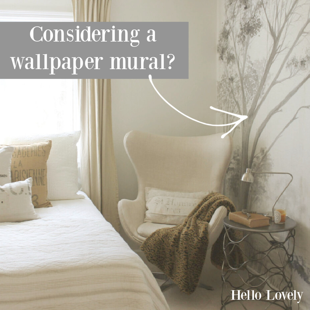 Considering a wallpaper mural? Come see the grisaille tree mural I chose from Photowall Sweden - Hello Lovely. #wallpapermural #treemural #grisaille