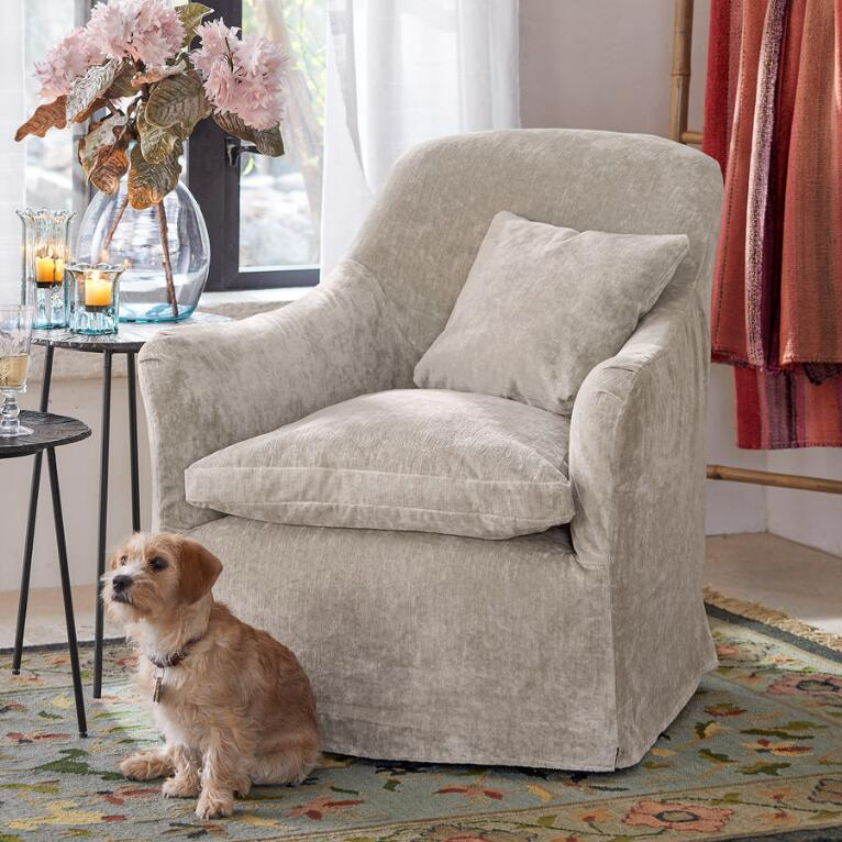 Beautiful velvet Deidre swivel chair from Sundance catalog