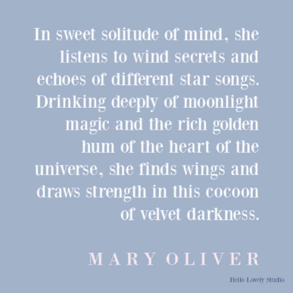 Mary Oliver poetry to uplift and encourage on Hello Lovely Studio.