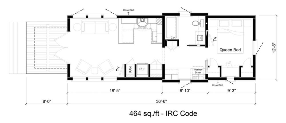 Tiny house floorplan with 464 sf - architect Jeffrey Dungan - Retreat Homes TN. #tinyhouse #floorplan #smallhouses