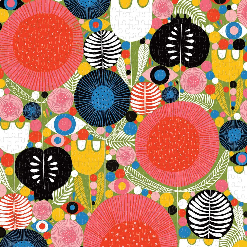 Colorful shapes and eyes, cheerful vibrant color, and happy illustration for this Galison Eyes in the Garden jigsaw puzzle. #jigsawpuzzles #colorfulshapes