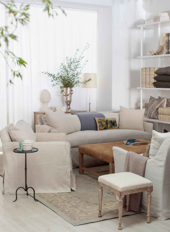 Beautiful European country inspired living room with custom furniture by Giannetti Home upholstered in Belgian linen. #giannettihome #livingroom #frenchfarmhouse #europeancountry #interiordesign
