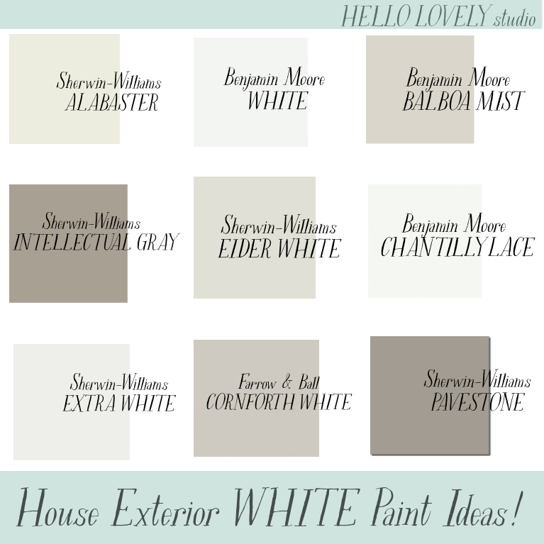 House Exterior White Paint Ideas - Hello Lovely Studio. #paintcolors #houseexteriors #bestwhitepaint #whitepaintcolors