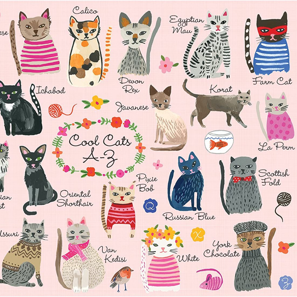 Adorable cat illustration puzzle with whimsical cats - Mudpuppy Cool Cats A-Z.