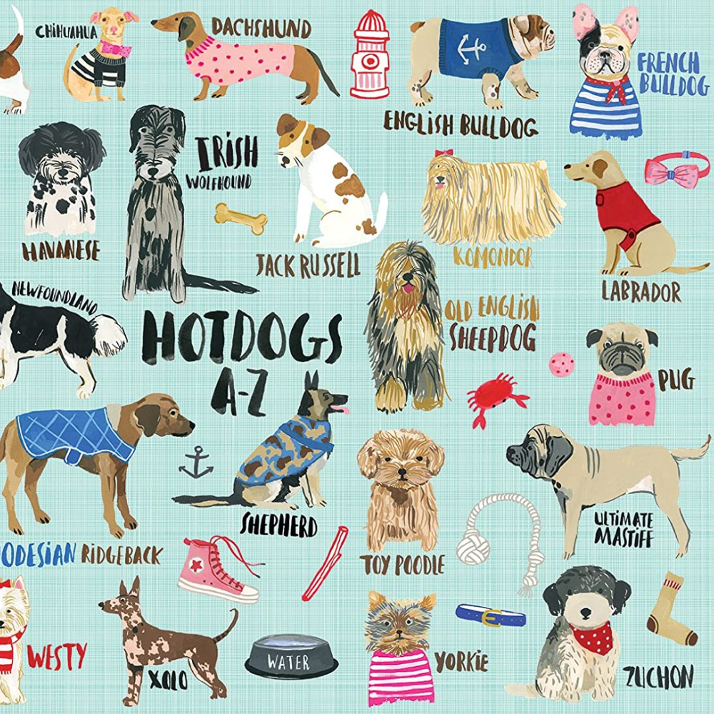 Whimsical jigsaw puzzle with adorable illustrated dogs - Mudpuppy Hot Dogs A-Z.