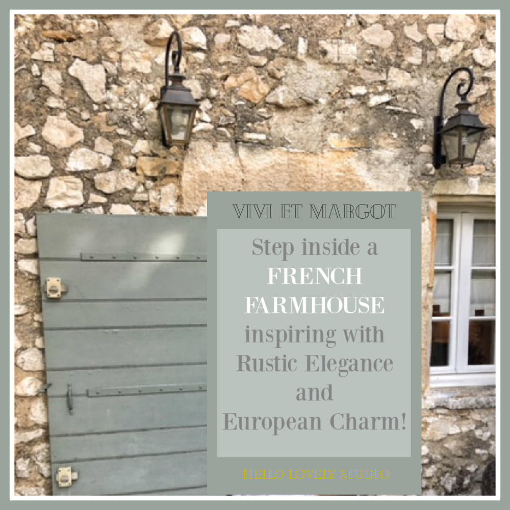 Rustic crumbling stone on a French farmhouse with French green door. Vivi et Margot. #frenchfarmhouse #vivietmargot #rusticstoneexterior #houseexterior #frenchgreen #greendoor