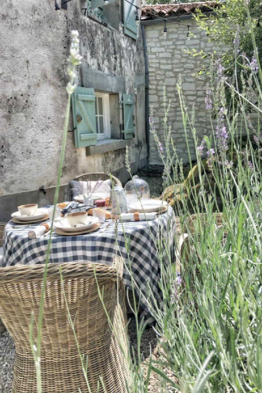 Romantic outdoor dining at this French farmhouse by Vivi et Margot. Navy check tablecloth (Maison de Vacances) available at Vivi et Margo. #frenchfarmhouse #vivietmargot #outdoordining #rusticdecor #farmhousestyle