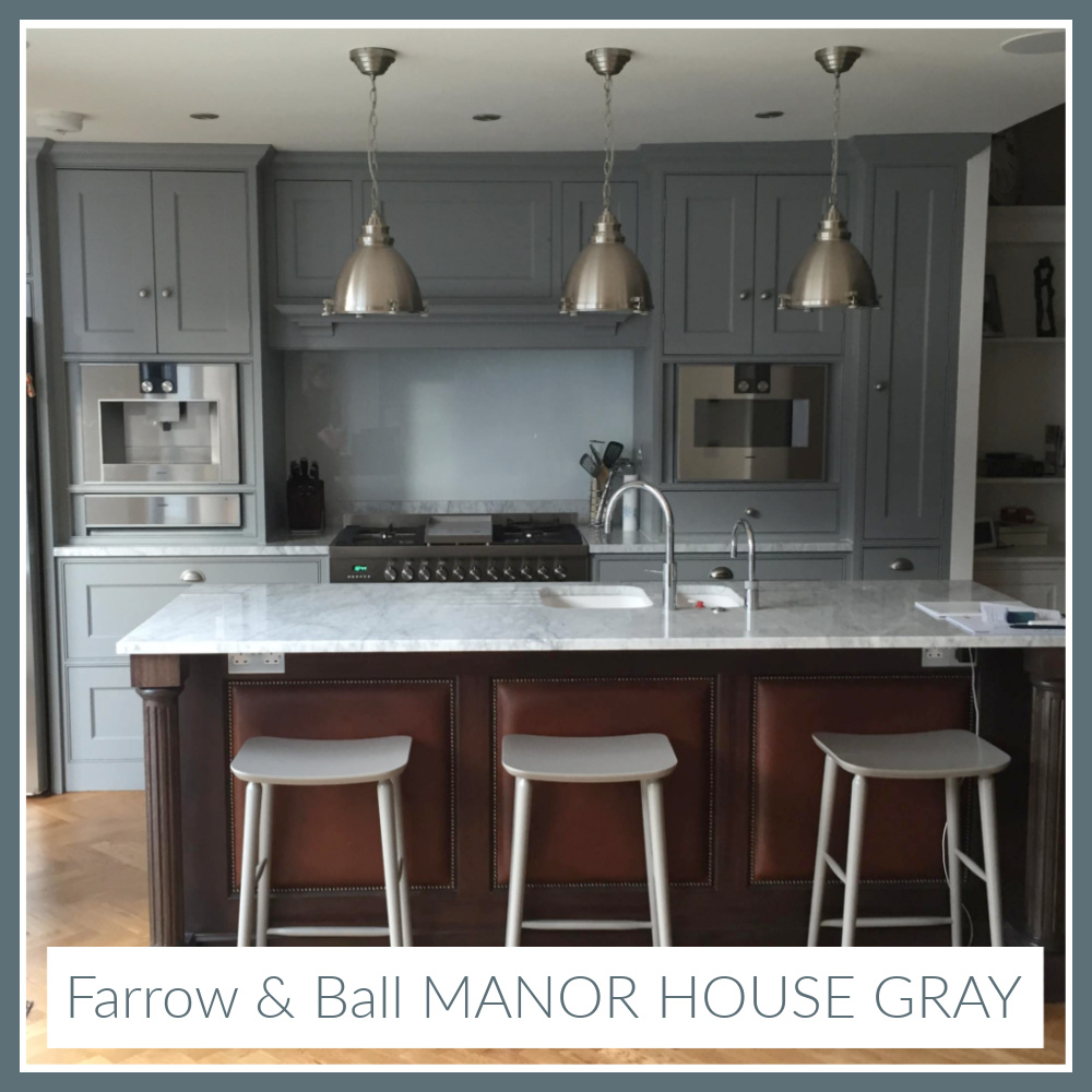Farrow & Ball Manor House Gray paint color on kitchen cabinets - come find more ideas for grey blue on Hello Lovely! #farrowballmanorhousegray #manorhousegray #paintcolors
