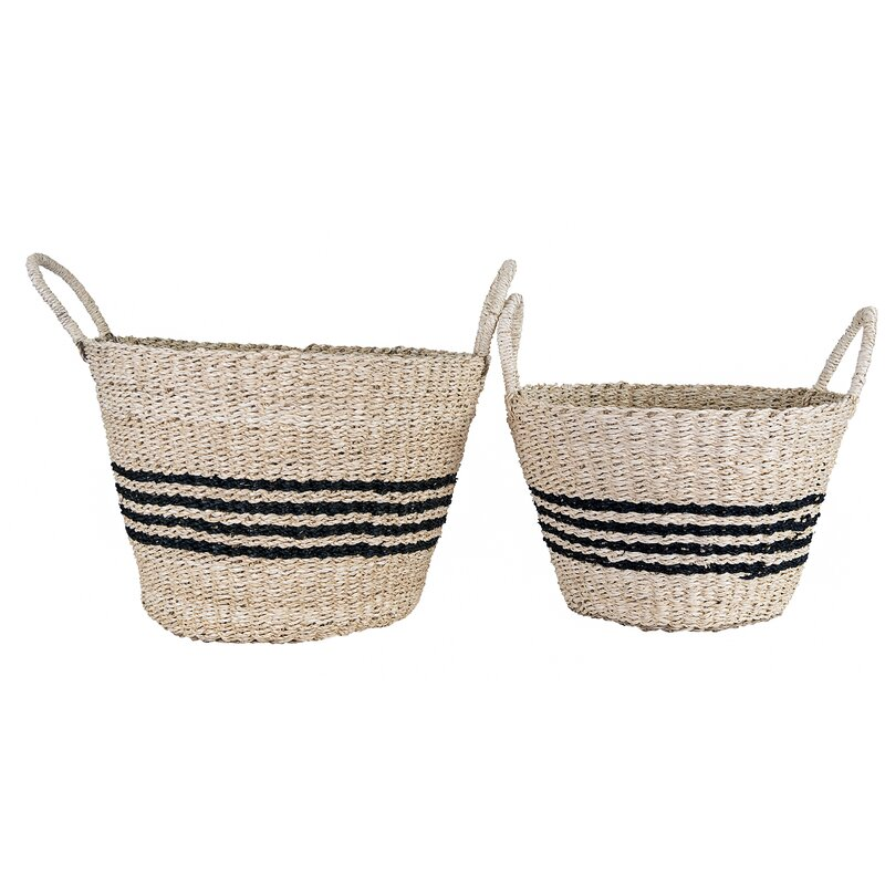 French stripe seagrass basket set of two is perfect for French country style inside and out! #frenchbaskets #seagrassbasket #baskets #wickerbaskets #storage #homedecor