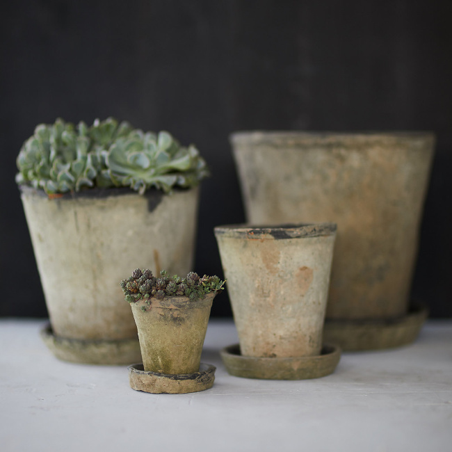 Earth Fired Clay Herb Pot & Saucer - lovely aged terracotta pots from Terrain. Come visit 29 Lovely Feel Good Finds & Funny Quotes!