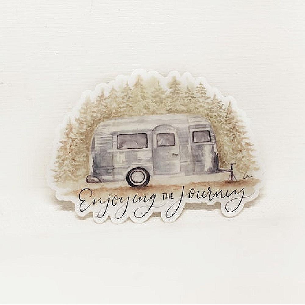 "Airstream ""Enjoying the Journey"" original waterproof sticker - Amber's Artistry Shop on Etsy. #airstream #stickers #campingvibes #happycamper"