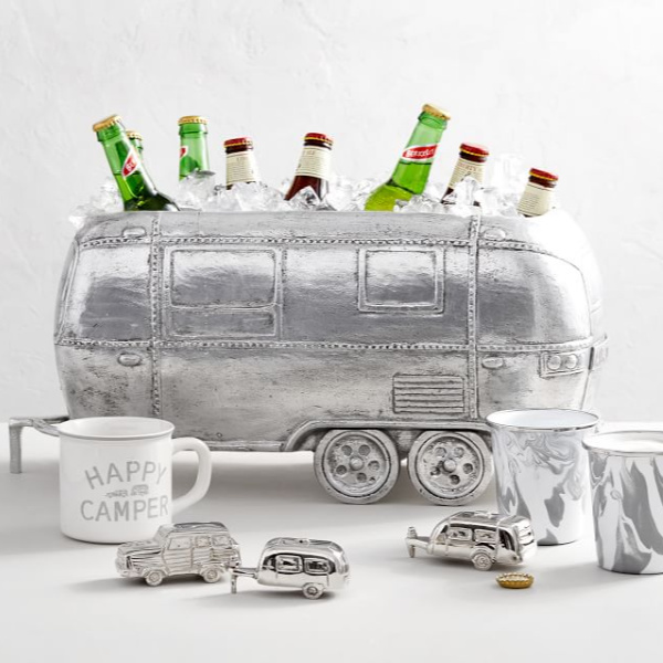 Ice bucket beverage holder. Airstream at Pottery Barn is a lovely collection of whimsical and happy camper decor whether we have a vintage camper to put in or not! #airstream #potterybarn #happycamper #whimsicalgifts #vintagecamper #homedecor