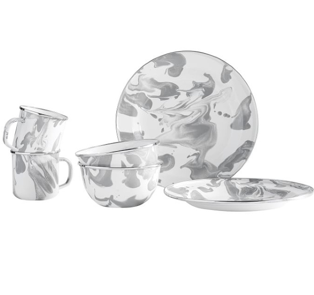 Grey marbled dishware. Airstream at Pottery Barn is a lovely collection of whimsical and happy camper decor whether we have a vintage camper to put in or not! #airstream #potterybarn #happycamper #whimsicalgifts #vintagecamper #homedecor