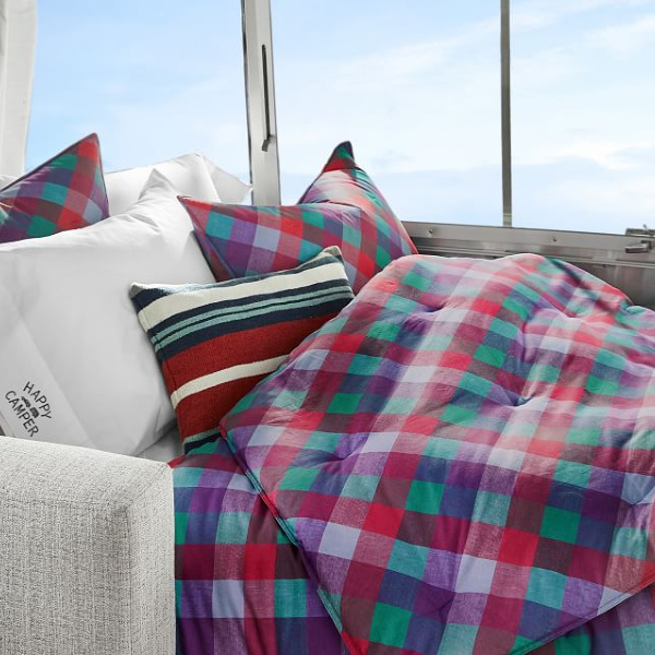 Retro check bedding. Airstream at Pottery Barn is a lovely collection of whimsical and happy camper decor whether we have a vintage camper to put in or not! #airstream #potterybarn #happycamper #whimsicalgifts #vintagecamper #homedecor