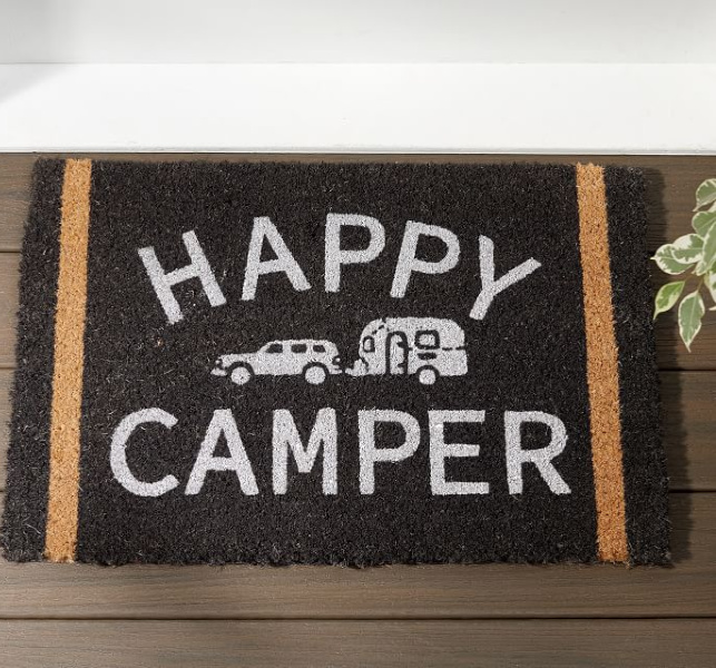 Happy Camper doormat. Airstream at Pottery Barn is a lovely collection of whimsical and happy camper decor whether we have a vintage camper to put in or not! #airstream #potterybarn #happycamper #whimsicalgifts #vintagecamper #homedecor
