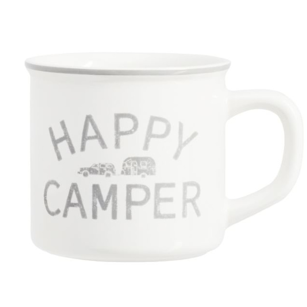 Happy Camper mug. Airstream at Pottery Barn is a lovely collection of whimsical and happy camper decor whether we have a vintage camper to put in or not! #airstream #potterybarn #happycamper #whimsicalgifts #vintagecamper #homedecor