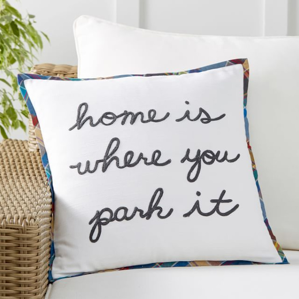 Home is where you park it pillow. Airstream at Pottery Barn is a lovely collection of whimsical and happy camper decor whether we have a vintage camper to put in or not! #airstream #potterybarn #happycamper #whimsicalgifts #vintagecamper #homedecor