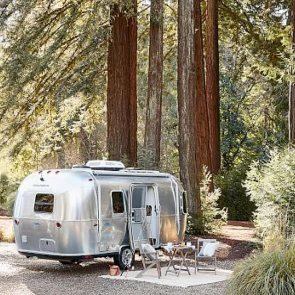 Airstream Pottery Barn happy camper style! #airstream #campingaesthetic #happycamper #campinginspo