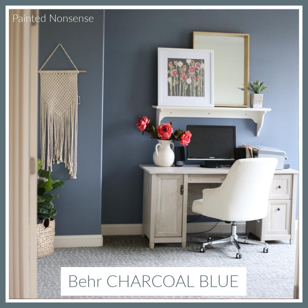 Behr Charcoal Blue paint color in a home office - design: Painted Nonsense. #bahrcharcoalblue #charcoalbluepaint #paintcolors