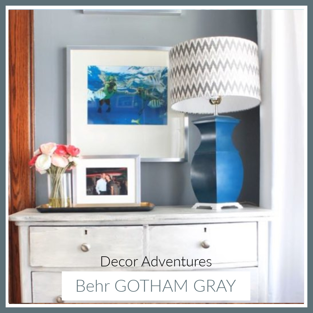 Gotham Gray (Behr paint color) is a gorgeous blue gray - DecorAdventures. #gothamgray #behrgothamgray #paintcolors