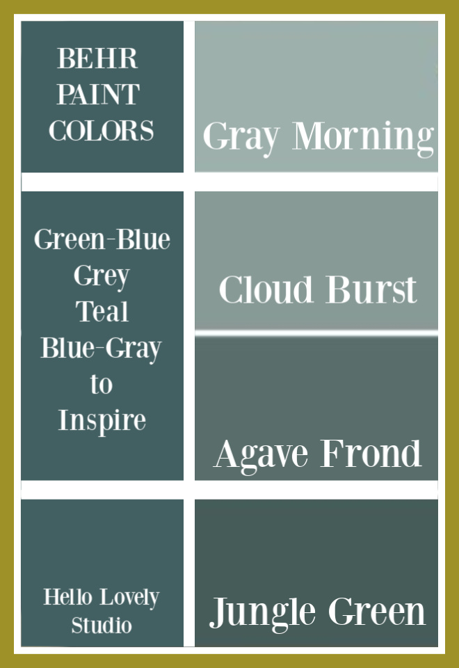 Blue Green Gray paint colors from Behr to inspire your interior design ideas for walls. Whether you love teal, aqua, grey-blue or atmospheric moody greens, try these! #behrpaintcolors #bluegreen #bluegray #graygreen #paintcolors