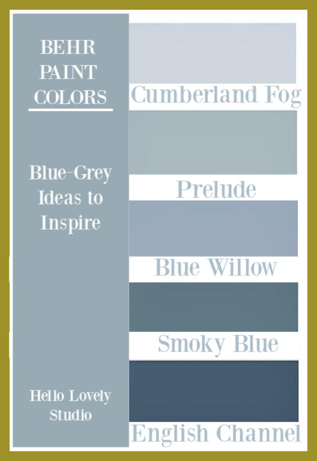 Blue Grey paint color ideas from Behr Paints - on Hello Lovely Studio. #bluegrey #bluegray #paintcolors #graypaintcolors