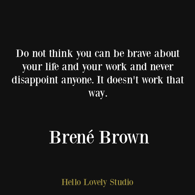 Brené Brown inspirational quote about kindness, imperfection, vulnerability, authenticity, and self-care. #personalgrowth #brenebrownquotes #vulnerability #selfcarequotes