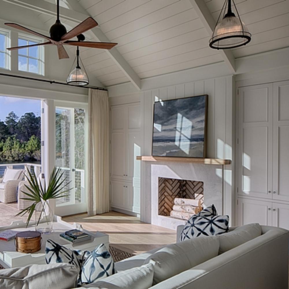 Beautiful classic coastal living room with casual modern farmhouse design and shiplap - Lisa Furey.
