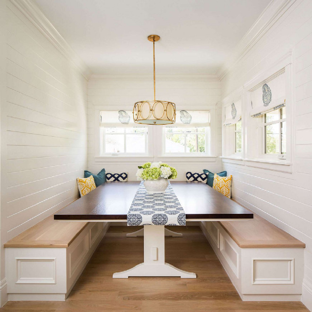 Classic breakfast nook with built in banquette seating. Design by The Fox Goup. #breakfastnook #kitchendesign #banquette #thefoxgroup #shiplap