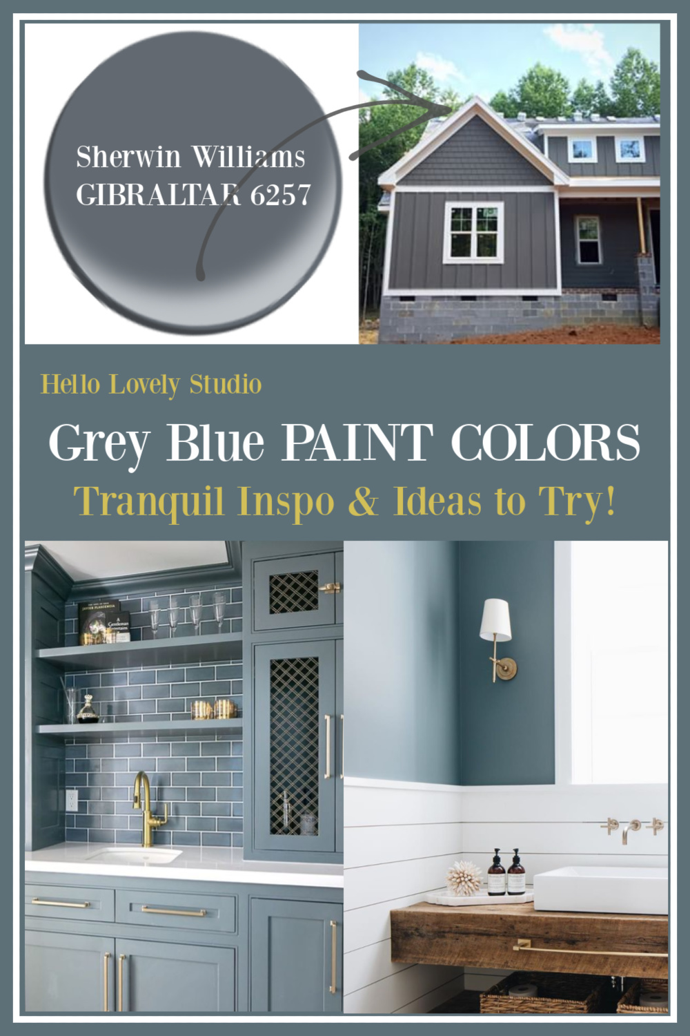 Grey Blue Paint Colors to Try - come find inspiration and names of paint to sample on Hello Lovely! #paintcolors #slateblue #slategreay #bluegrey #greyblue #graypaint