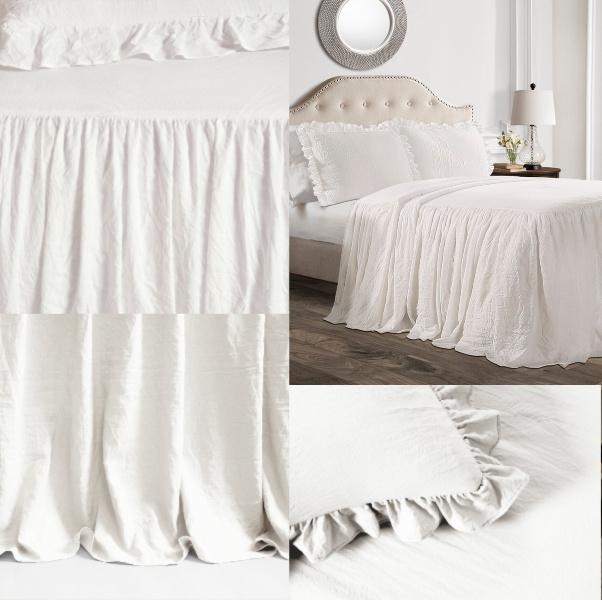 Lewis Ruffle Bedskirt Set - Kelly Clarkson Collection from Wayfair. #ruffle #bedskirt #frenchcountry #bedding #bedroomdecor