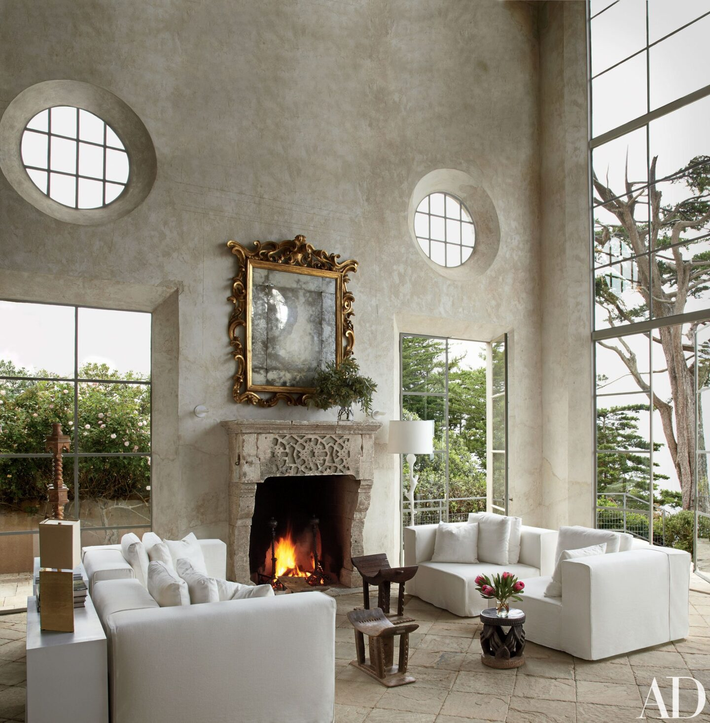 Richard Shapiro designed living room in Malibu with plaster walls and soaring ceilings. #richardshapiro #interiordesign #oldworld #livingroom #plasterwalls