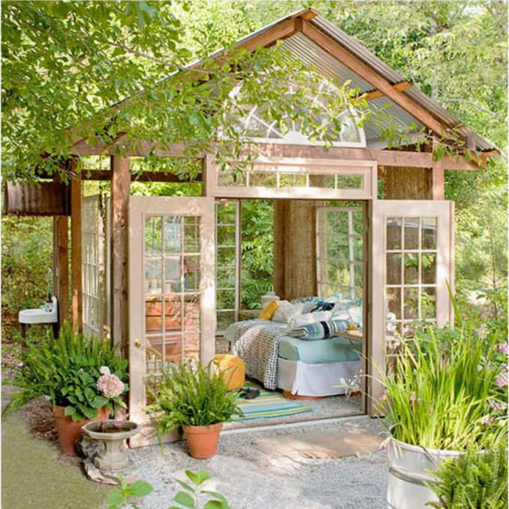 Ultimate she shed made from windows - via Indulgy. #sheshed #gardenshed #backyardoasis #gardeninspiration