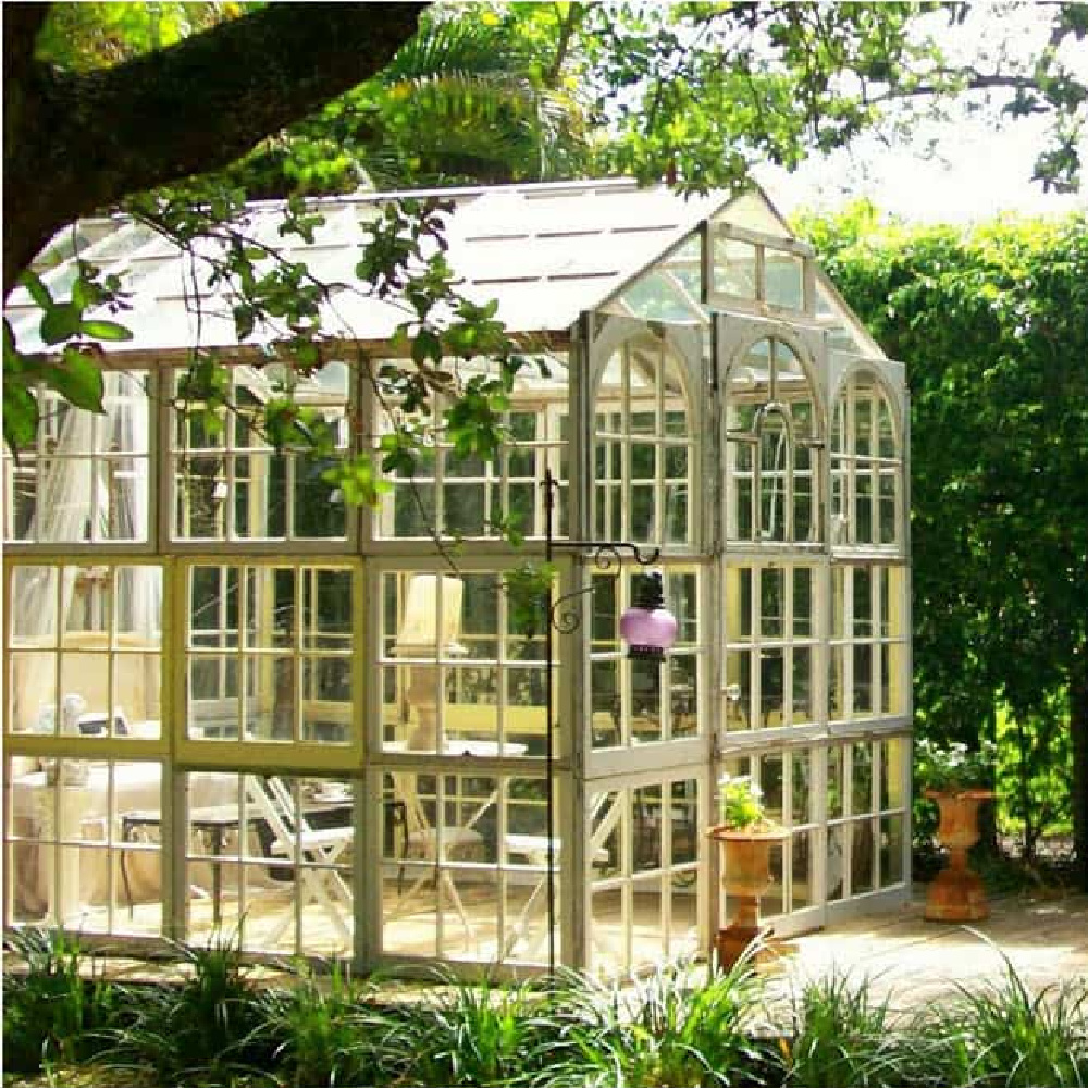 Ultimate she shed made from walls of windows - The Pineapple Room. #sheshed #gardenshed #greenhouseshed #gardeninspiration