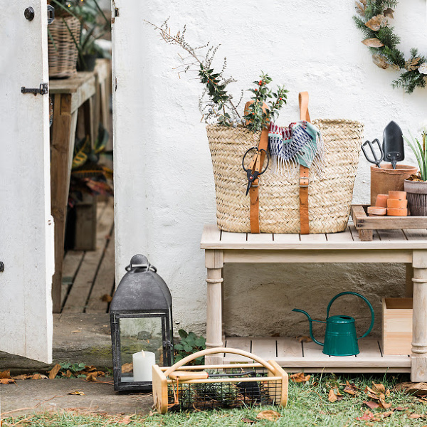 Beautiful garden shed supplies and a French market basket backpack from Terrain. #gardenshed #frenchfarmhouse #frenchmarketbasket