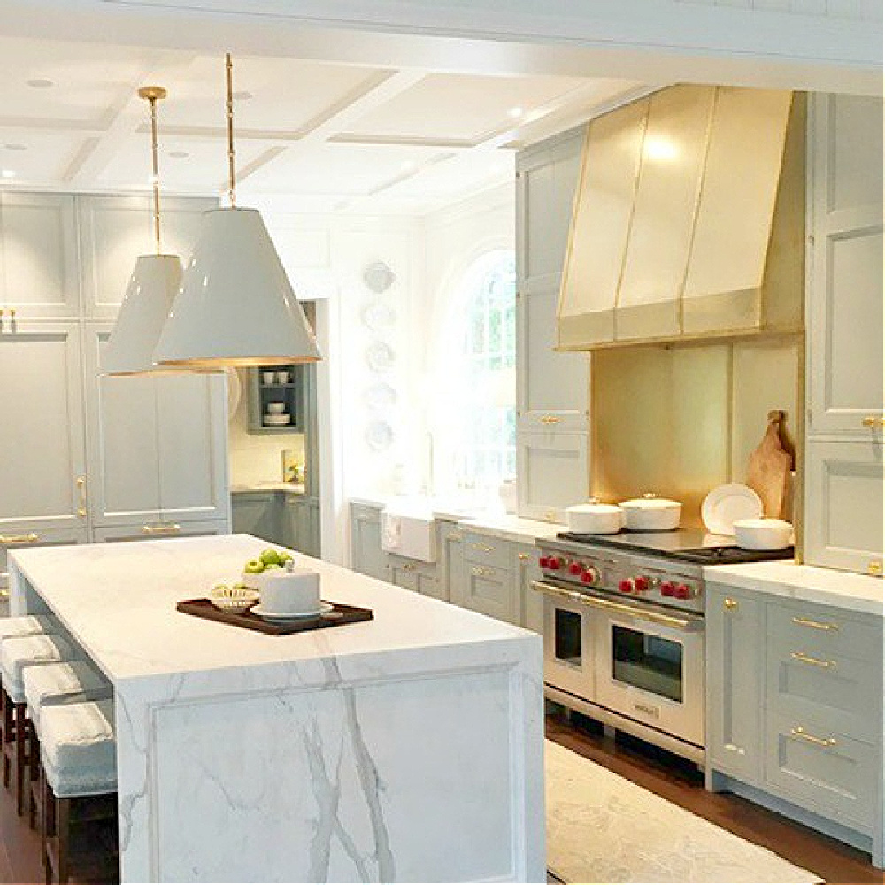 Stunning blue and white traditional kitchen in 2017 Southeastern Designer Showhouse in Atlanta. #bluekitchen #farrowandballlightblue #timelesskitchen #kitchendesign #traditionalkitchens