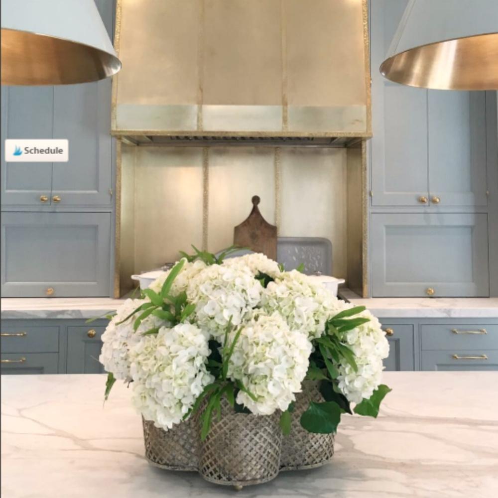 Light blue painted cabinets in kitchen in 2017 Southeastern Designer Showhouse in Atlanta. #bluekitchen #farrowandballlightblue #timelesskitchen #kitchendesign #traditionalkitchen
