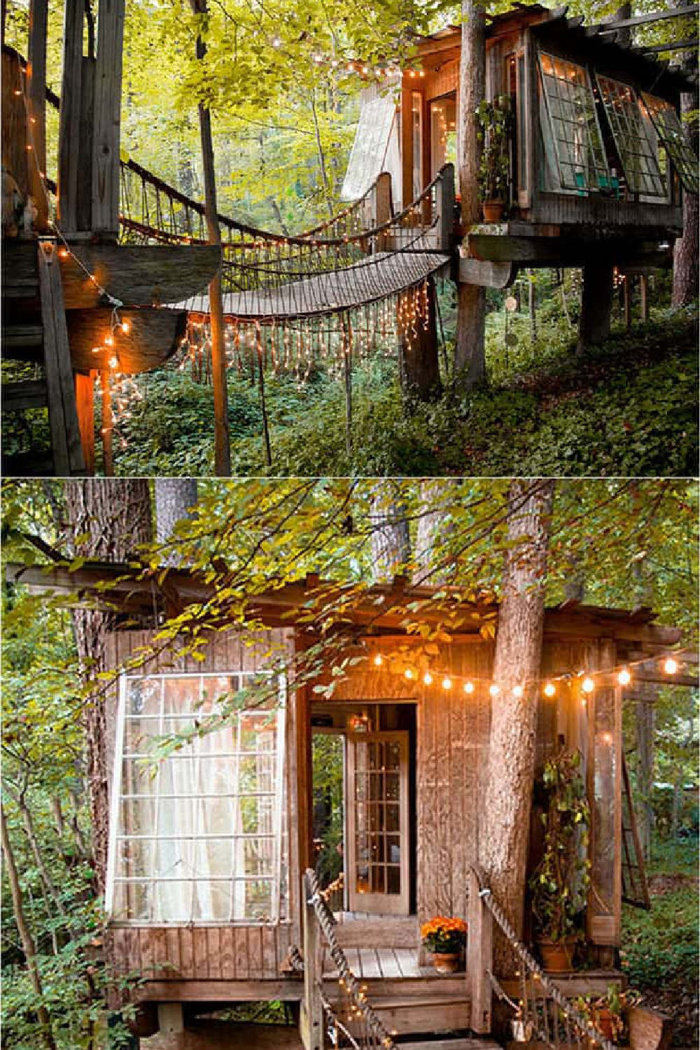 Inspiring treehouse with bridge by Peter Bahouth (photo by Lindsay Appel) in the book MY COOL SHED. #treehouse #dreamshed #sheshed #backyardoasis