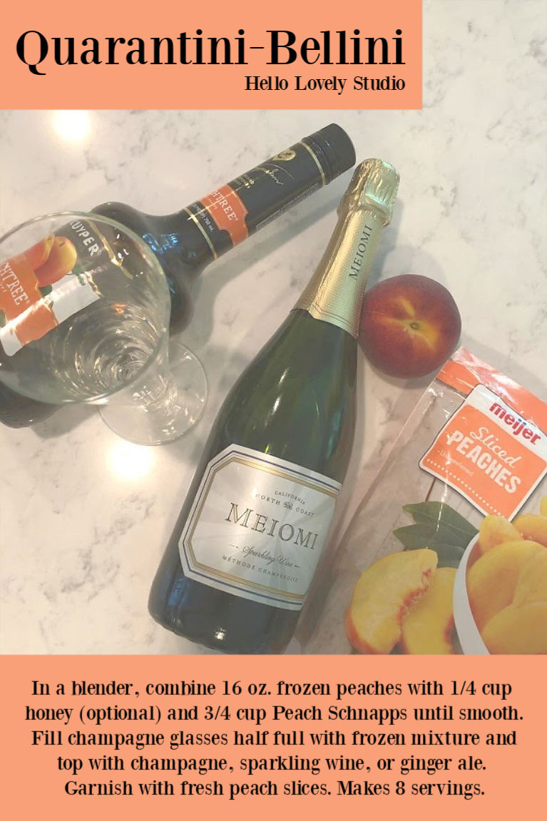 Quarantini Bellini recipe by Hello Lovely Studio. #quarantinibellini #bellinirecipe #peachrecipe #peachcocktail #champagnecocktail #drinkrecipes