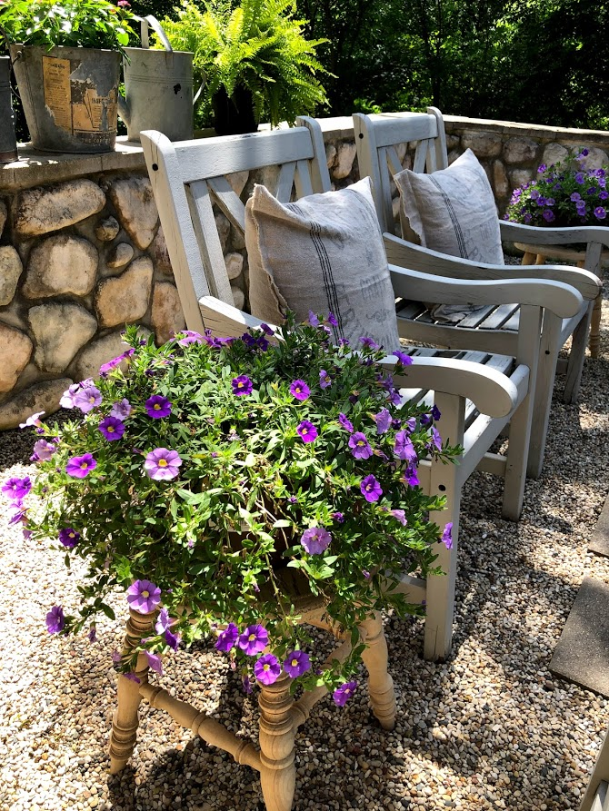 Pretty purple annuals perched on a rustic wood stool in my French country courtyard with pea gravel. #hellolovelystudio #frenchcountry #courtyard #summergarden #rusticstool