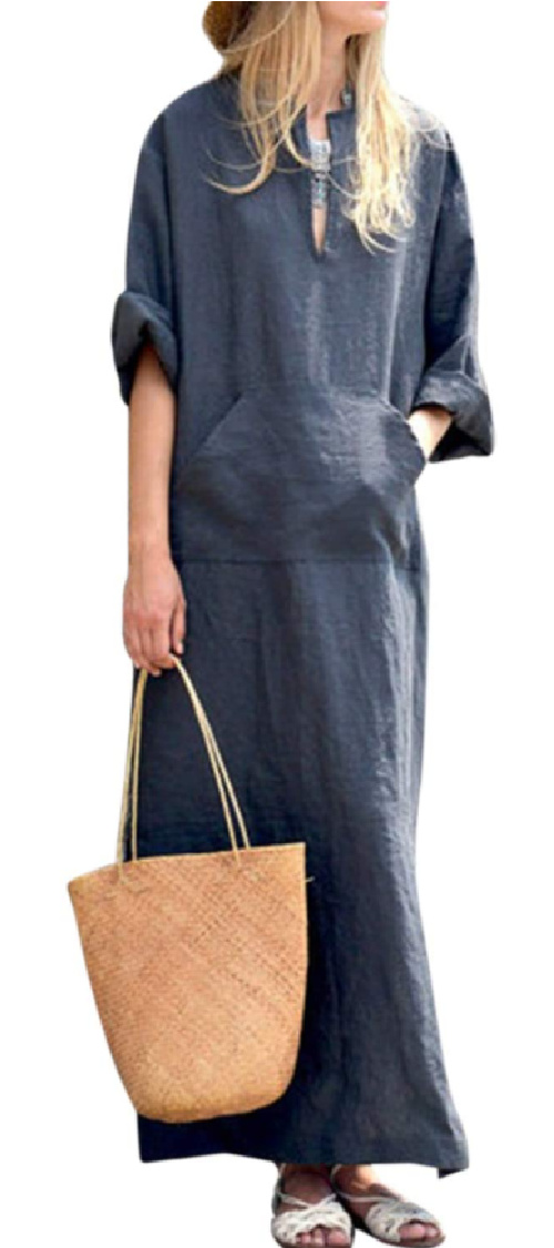 Navy blue kaftan dress with slouchy relaxed beachy style