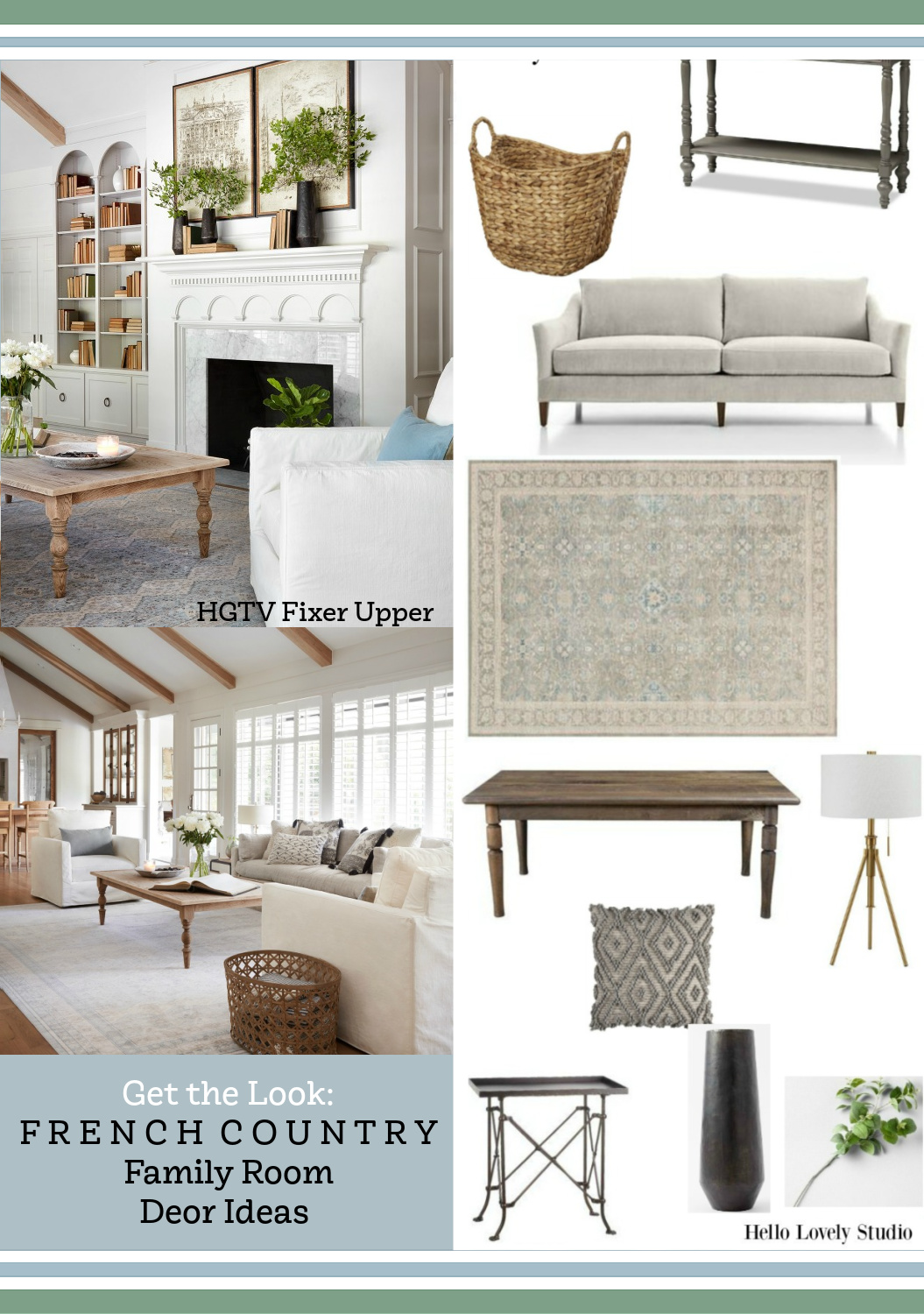 Get the look: French Country family room inspired by The Club House on Fixer Upper (HGTV). #frenchcountry #familyroom #geththelook #shopthelook #clubhousefixerupper