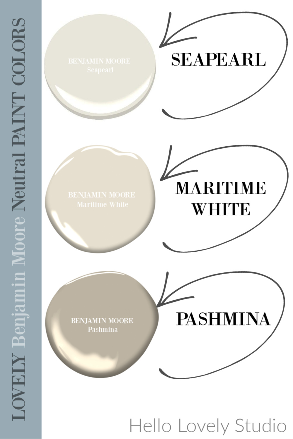 Neutral paint colors from Benjamin Moore I love - Hello Lovely Studio. #paintcolors #benjaminmoore #seapearl #pashmina #maritimewhite #whitepaintcolors #hellolovelystudio