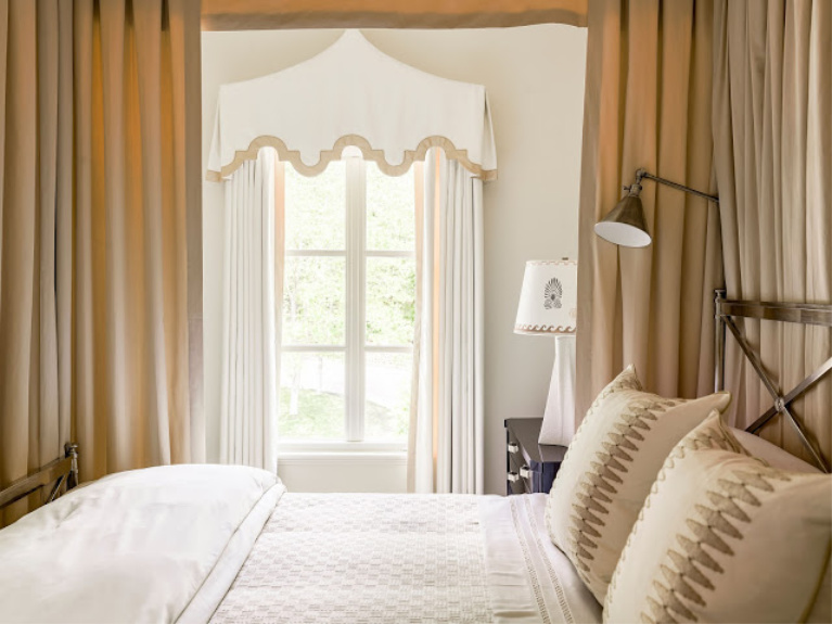 Maritime White (Benjamin Moore) paint on walls of a sophisticated bedroom with neutral colors - 2020 Southeastern Designer Showhouse. #bedroomdesign #bedroomdecor #paintcolors #maritimewhite #benjaminmoore