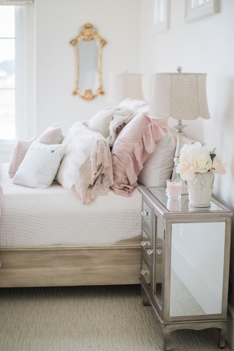 Feminine and romantic French country girls bedroom with pale pink and white linens and Alabaster painted walls - Brit Jones. #girlsbedroom #pinkbedrooms #bedroomdecor #interiordesign #romanticdecor #frenchcountry