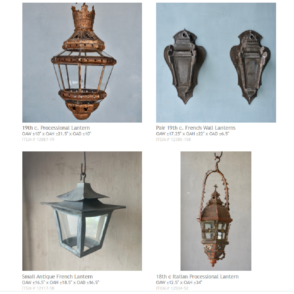 Antique French lanterns - lighting options available from Chateau Domingue.
