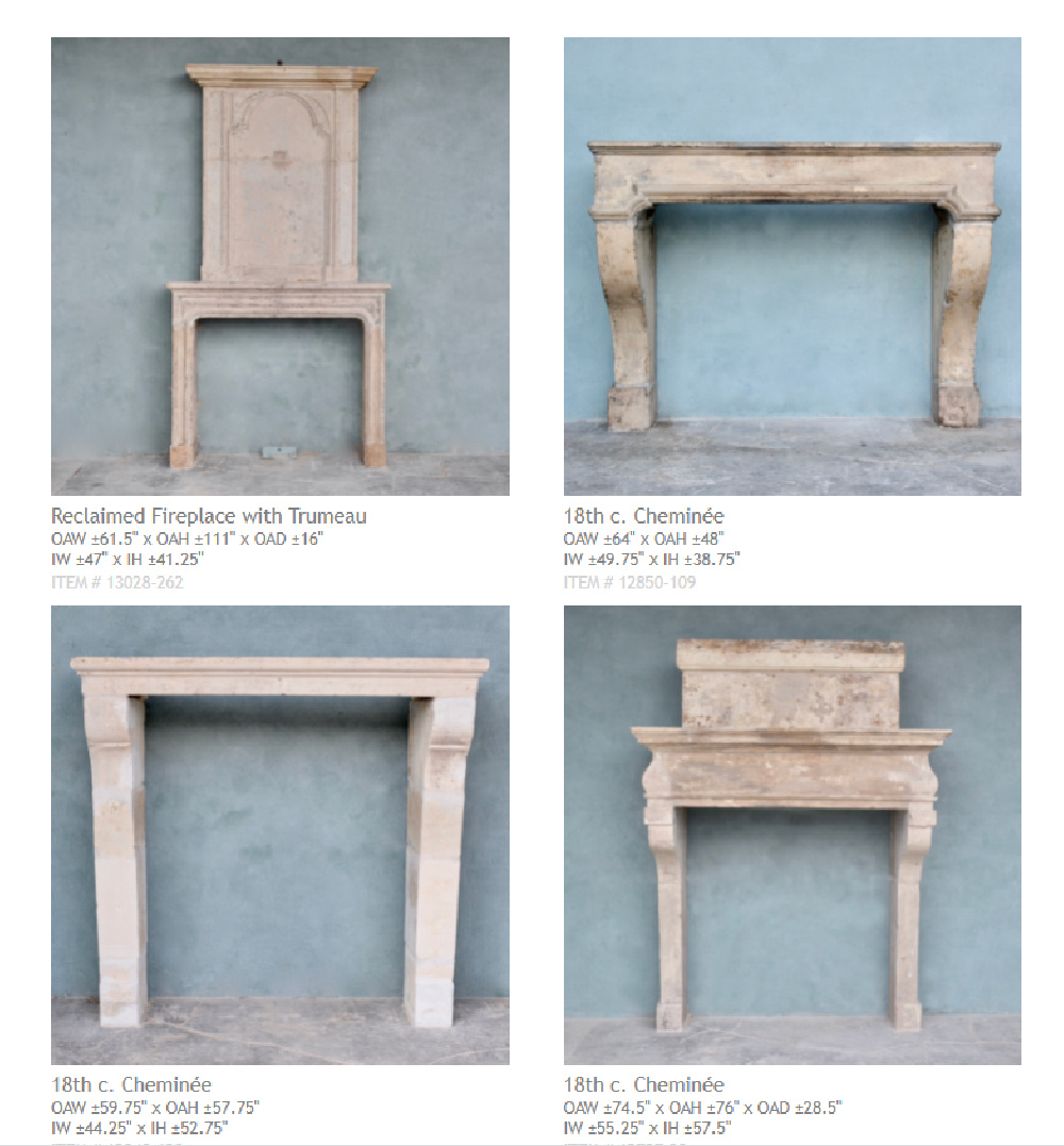 Antique French fireplace cheminee examples - Chateau Domingue.