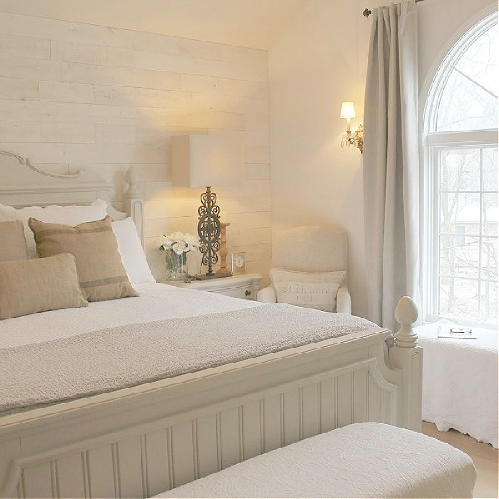 White Country French bedroom with furniture painted Revere Pewter (BM) - Hello Lovely.